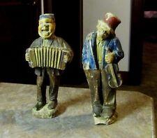 Antique Anri Fernandiz Lot of 2 Man Band Accordion Violin Rare Wood Figurine