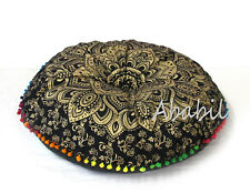 "28"" Round Floor Pillow Cover Black Golden Mandala Decorative Cushion Pouf Covers"