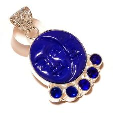 Carved Blue Face with Tanzanite Gemstone silver plated Handmade Carving Pendant