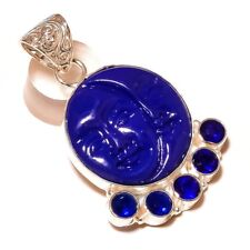 Carved Blue Double Face with Tanzanite Gemstone silver plated Handmade Pendant