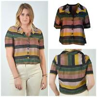 M&S Khaki Dusky Pink Bold Striped Crop Shirt Blouse Short Sleeve