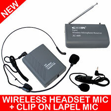 PROFESSIONAL WIRELESS MICROPHONE HEADSET + LAPEL CLIP ON MIC SC-600