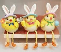 "Happy Easter Yellow Chick Hat Resin 4"" Shelf Sitter Set 3 Decor Spring Gift"