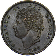 More details for 1827 third farthing - george iv british copper coin - very nice