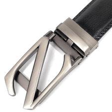 Men's Black Belts Letter Z Leather Belt Ratchet Belt Click Buckle Waist strap