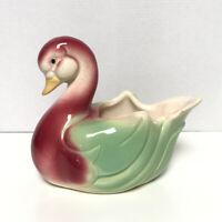 Vintage Swan Planter Thick Ceramic Pottery Bird Retro Decor Mid Century Modern