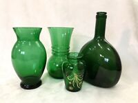 Vintage Collection Of Green Glass Vases And Bottle