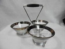 Mid Century Condiment Server Caddy Tray with 3 Glass Bowls  Dishes