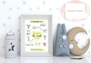 Personalised New Baby Gift / Christening Gift / Baby Boy Girl Birth Print Gift
