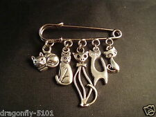 'Nine Lives'  Multi Cat Charms Kilt Pin/Brooch by Elizabeth*SRAJD Ideal Gift