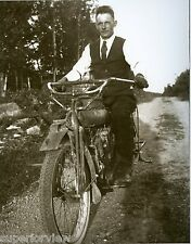 1916 Indian Motorcycle Close Up Photo Man On Indian Bike Wearing Tie & Vest LOOK