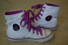 Converse, All Star, Hi tops... white & purple trim...size US 6, UK 4..excellent