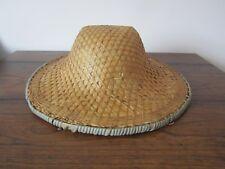 Vintage Asian Chinese Wicker Rattan Bamboo Sun Safari Garden Hat