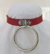 Red Faux Leather Dog Collar Choker & Very Large Ring - Punk Goth Fetish Slave