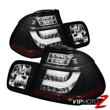 02-05 BMW E46 3-Series 4DR Tail Light Black LED STRIP Signal Brake Pair LH RH