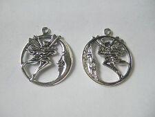 5 x Tibetan Silver Round Moon Fairy Angel Charms Pendants Beads Findings
