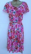 M&S PER UNA LADIES PINK WHITE GREEN ORANGE LONG SUMMER DRESS PLUS SIZE 22 LINED
