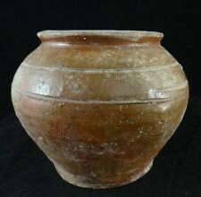 "Han Dynasty Chinese Pottery Brown Glazed Jar (206BC-220AD). 5"" dia, 4 ¼"" tall."