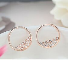 Rose Gold Sterling Silver Cubic Zirconia CZ Round Stud Earrings Gift Box I18