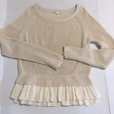 Maje Sweater Ruffle Hem Sz 1 Beige Cream Ivory Scoop Neck Pleated Knit Underlay