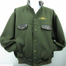 Dehn Military Green Leather Trim Wool Bomber Jacket Lined Full Zip Coat Size XL