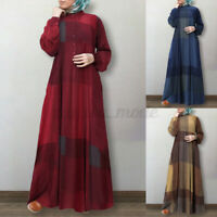 Womens Long Sleeve Check Plaid Casual Loose Kaftan Baggy Flare Swing Maxi Dress