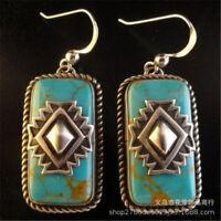 Vintage Handmade 925 Silver Turquoise Wedding Dangle Drop Earrings Women Jewelry