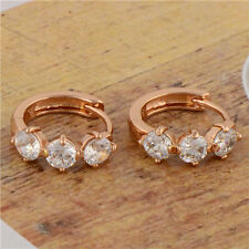 SMALL VINTAGE 14K ROSE GOLD GF LAB DIAMOND WOMENS HUGGIE HOOP EARRINGS WEDDING