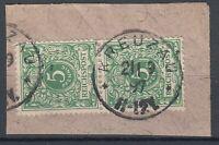 AAC 38745) KREUZAU Rheinland OPD Aachen Stempel 1897 Mi.-Nr. 46 Briefstück