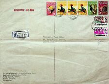 MALAYSIA 8v BIRDS ON REGD AIRMAIL COVER FROM SELANGOR TO LONDON IN ENGLAND GB