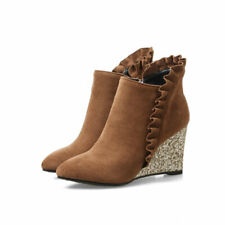 Ankle Boots Women's Glitter Wedge Heels Ruffle Pointy Toes Faux Suede Booties Sz