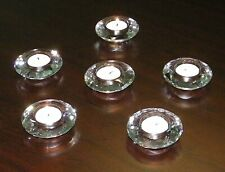 Crystal Diamond Tea Light Holder, Clear, 6 piece set