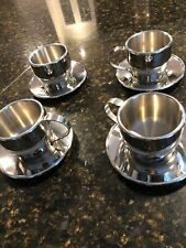 4 Sets Stainless Steel High Quality Espresso Coffee Cup with Saucer