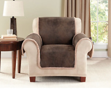 Sure Fit Vintage Leather Chair Pet Cover Furniture Cover in Brown - Reversible