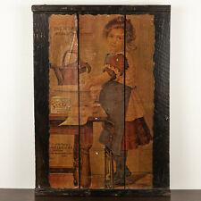 AMAZING PRIMITIVE ANTIQUE FOLK ART PAINTING 1800'S ERA EARLY AMERICANA PORTRAIT