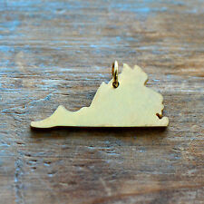 Virginia State Charm - Brushed 24k Gold Plated Stainless Steel Pendant Minimal