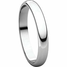 Half Round Wedding Band Free Priority Shipping Size 4 - 3.0 mm wide Platinum
