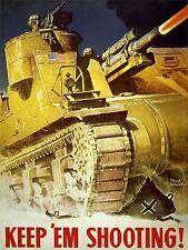 ART PRINT POSTER propagande WWII guerre USA garder tir réservoir gun nofl1026