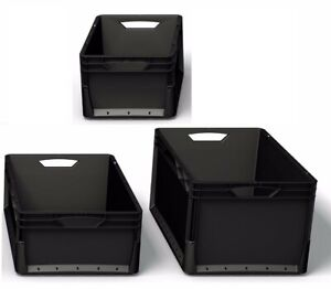 ECO BLACK Euro Stacking Heavy Duty Plastic Storage Containers Crate Strong Boxes