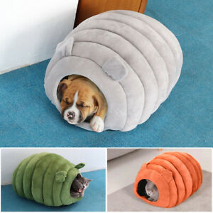 Cat Igloo Bed Non-slip Plush Dog Cat Cave House Kennel Cushion Sleeping Bed Mat