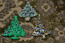 Lot of 3 Vintage Christmas Tree Brooches/Pins Metal Gold Plated & Plastic