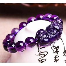 12mm Feng Shui Purple Crystal Wealth Pixiu Bracelet Lucky Bead Wirstband New