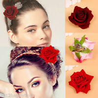 Women Rose Flower Hair Clip Hairpin Brooch Bridal Wedding Party Decor Accessory
