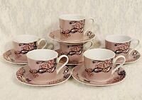 Georges Briard Floral Parisienne Coffee Cups Saucers Set Of 6 Tea Pink Mauve