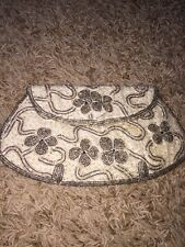 Vintage Handbag Beaded Magid Antique? Flowers Cream Clutch Mirror Japan