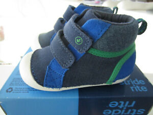 Stride Rite Soft Motion Milo Blue Green Leather High-Top Sneakers Toddler Sz 5.5