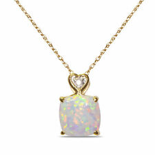 .03CT DIAMOND WITH CREATED OPAL NECKLACE PENDANT  10K SOLID YELLOW GOLD W/CHAIN