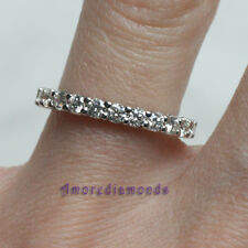 1.3 ct F VS round ideal cut diamond eternity wedding ring 14k white gold size 7