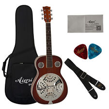 Aiersi Mahogany Acoustic Dobro Slide Resonator Guitar WithFree Case and strap