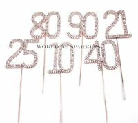 Rose Gold Diamante Diamond Rhinestone Number Cake Pick Topper for Party Decor